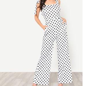 Pants - white polka dot jumpsuit